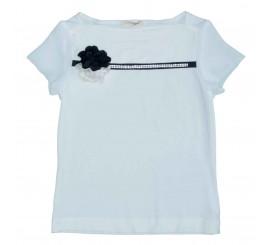 Camiseta chic con flor y piedras